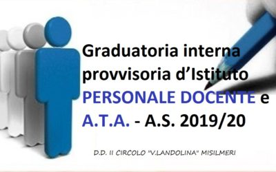 Circ. n. 164 Decreto pubblicazione graduatoria interna provvisoria d'Istituto, per il personale Docente e A.T.A. titolare – A.S. 2019/20