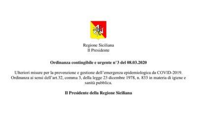 Regione Sicilia – Ordinanza contingibile e urgente n°3 del 08.03.2020