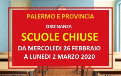 COMUNICATO STAMPA – Da mercoledì 26 febbraio a lunedì 2 marzo scuole chiuse a Palermo e provincia